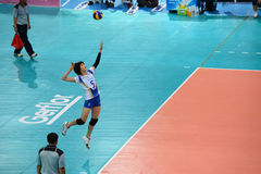 Volleyball WGP : Dominican VS Thailand. Pleumjit Thinkaow serf the ball, thai player at Volleyball world grand prix 2014, PRELIMINARY ROUND Pools Composition Stock Image