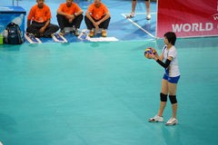Volleyball WGP : Dominican VS Thailand. Pleumjit Thinkaow, thai team at Volleyball world grand prix 2014, PRELIMINARY ROUND Pools Composition - POOL A-I (August Royalty Free Stock Image
