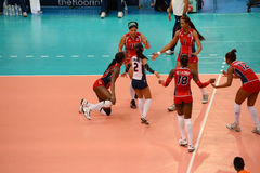 Volleyball WGP : Dominican VS Thailand. Dominican team at Volleyball world grand prix 2014, PRELIMINARY ROUND Pools Composition - POOL A-I (August 1-24, 2014 Stock Photography