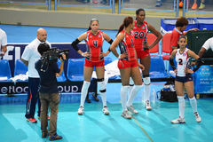 Volleyball WGP : Dominican VS Thailand. Dominican team at Volleyball world grand prix 2014, PRELIMINARY ROUND Pools Composition - POOL A-I (August 1-24, 2014 Royalty Free Stock Image