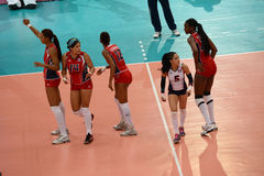 Volleyball WGP : Dominican VS Thailand. Dominican team at Volleyball world grand prix 2014, PRELIMINARY ROUND Pools Composition - POOL A-I (August 1-24, 2014 Royalty Free Stock Photos