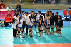 Volleyball WGP : Dominican VS Thailand. Thai team at Volleyball world grand prix 2014, PRELIMINARY ROUND Pools Composition - POOL A-I (August 1-24, 2014 Royalty Free Stock Photo