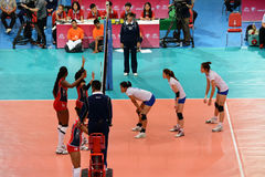 Volleyball WGP : Dominican VS Thailand. Waiting for ball, Dominican team at Volleyball world grand prix 2014, PRELIMINARY ROUND Pools Composition - POOL A-I ( Stock Image