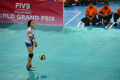 Volleyball WGP : Dominican VS Thailand. Wilavan Apinyapong , thai team at Volleyball world grand prix 2014, PRELIMINARY ROUND Pools Composition - POOL A-I ( Royalty Free Stock Photo