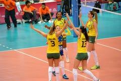 Volleyball WGP : Le Brésil CONTRE les Etats-Unis Photos libres de droits