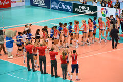 Volleyball WGP : USA VS Thai. Check hand at Volleyball world grand prix 2014, PRELIMINARY ROUND Pools Composition - POOL A-I (August 1-24, 2014)nnhttp://www.fivb Stock Images