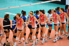 Volleyball WGP : USA VS Thai. Check hand at Volleyball world grand prix 2014, PRELIMINARY ROUND Pools Composition - POOL A-I (August 1-24, 2014)nnhttp://www.fivb Stock Image