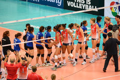 Volleyball WGP : USA VS Thai. Check hand at Volleyball world grand prix 2014, PRELIMINARY ROUND Pools Composition - POOL A-I (August 1-24, 2014)nnhttp://www.fivb Royalty Free Stock Photos