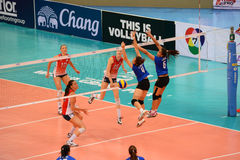 Volleyball WGP : USA VS Thai. Fighting Time at Volleyball world grand prix 2014, PRELIMINARY ROUND Pools Composition - POOL A-I (August 1-24, 2014)nnhttp://www Royalty Free Stock Photography