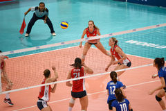 Volleyball WGP : USA VS Thai. Fighting Time at Volleyball world grand prix 2014, PRELIMINARY ROUND Pools Composition - POOL A-I (August 1-24, 2014)nnhttp://www Stock Photo