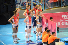 Volleyball WGP : USA VS Thai. USA substitutes Team at Volleyball world grand prix 2014, PRELIMINARY ROUND Pools Composition - POOL A-I (August 1-24, 2014)nnhttp Stock Images