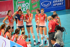 Volleyball WGP : USA VS Thai. USA Team at Volleyball world grand prix 2014, PRELIMINARY ROUND Pools Composition - POOL A-I (August 1-24, 2014)nnhttp://www.fivb Stock Photos