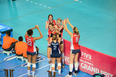 Volleyball WGP : USA VS Thai. USA Team at Volleyball world grand prix 2014, PRELIMINARY ROUND Pools Composition - POOL A-I (August 1-24, 2014)nnhttp://www.fivb Stock Images