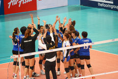 Volleyball WGP : USA VS Thai. Thai Team at Volleyball world grand prix 2014, PRELIMINARY ROUND Pools Composition - POOL A-I (August 1-24, 2014)nnhttp://www.fivb Royalty Free Stock Image