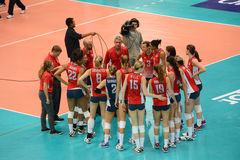 Volleyball WGP : USA VS Thai. USA Team at Volleyball world grand prix 2014, PRELIMINARY ROUND Pools Composition - POOL A-I (August 1-24, 2014)nnhttp://www.fivb Stock Photo