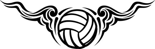 Volleyball Wing Flourish Design Royalty-vrije Stock Foto