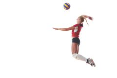 Volleyball woman jump Royalty Free Stock Photography