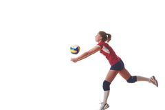 Volleyball woman jump Stock Images