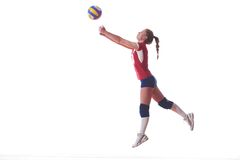 Volleyball woman jump Royalty Free Stock Photos