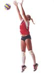 Volleyball woman jump Stock Photo