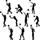 Volleyball woman player. Collection of volleyball woman player in different poses royalty free illustration