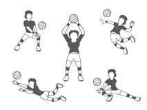 Volleyball woman player set Stock Images