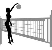 Volleyball woman silhouette  2. On white Stock Photos