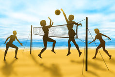 Volleyball women. Editable vector silhouettes of women playing beach volleyball with background made using a gradient mesh Stock Photos