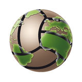 Volleyball World. A volleyball in a world globe shape Stock Image