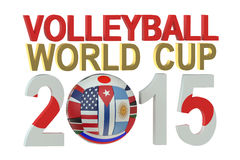 Volleyball World Cup 2015 Japan concept. Isolated on white background Stock Photo