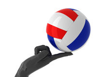 Volleyball for you. Volleyball ball on forefinger. Isolated Royalty Free Stock Photo