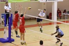 Volleyballangriff Stockfoto