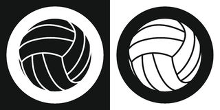 Volleyballballikone Schattenbildvolleyballball auf einem Schwarzweiss-Hintergrund Ein Ski Auch im corel abgehobenen Betrag Stockfotos