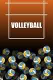 Volleyballfeld und -ball Lot Kugeln Realistisches 3d übertrug Illustration Stockfotos