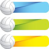 Volleyballs on colored tabs Royalty Free Stock Image