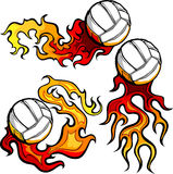Volleyballs with Flames Images Stock Images