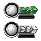 Volleyballs on green and white arrow nameplates. Green and white arrow banners with a volleyball icon Stock Image
