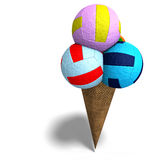 Volleyballs in an ice cream cone Royalty Free Stock Photo