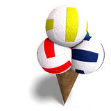 Volleyballs in an ice cream cone Royalty Free Stock Photos