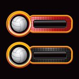 Volleyballs on red and black checkered tabs Royalty Free Stock Photo