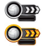 Volleyballs on silver and gold arrow nameplate Royalty Free Stock Photo