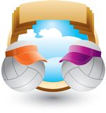 Volleyballs with visors on gold crest Royalty Free Stock Photography
