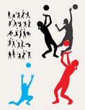 Volleyballsilhouetten Royalty-vrije Stock Afbeeldingen