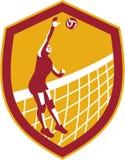 Volleyballspeler Spike Ball Net Retro Shield Stock Afbeelding