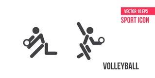 Volleyballzeichenikone, Logo Sportvektorlinie Ikonen Athletenpiktogramm stock abbildung