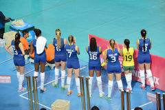 Volleyboll WGP: Brasilien VS dominikan Arkivbilder