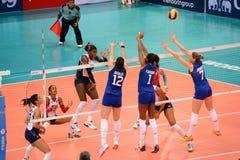 Volleyboll WGP: Brasilien VS dominikan Royaltyfria Foton