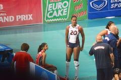 Volleyboll WGP: Brasilien VS dominikan Arkivbild
