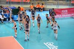 Volleyboll WGP: Brasilien VS USA Royaltyfria Foton