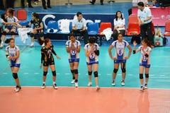 Volleyboll WGP: Dominikan VS Thailand Arkivfoto